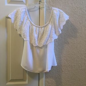 White off the shoulder top with ruffle